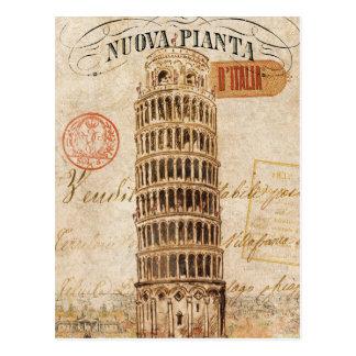 Torre inclinada del vintage de Pisa Tarjetas Postales