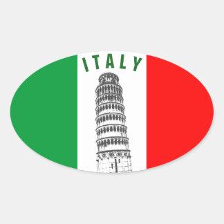 Torre inclinada modificada para requisitos pegatina ovalada