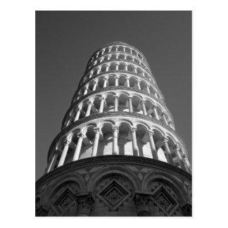 Torre inclinada negra y blanca de Pisa Italia Postal