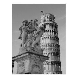 Torre inclinada negra y blanca de Pisa Italia Tarjeta Postal