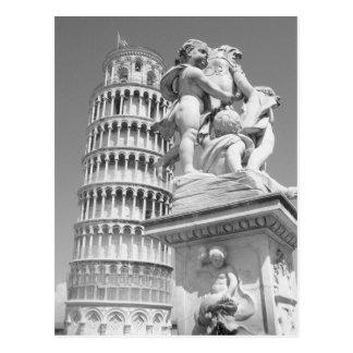 Torre inclinada negra y blanca de Pisa Italia Tarjetas Postales