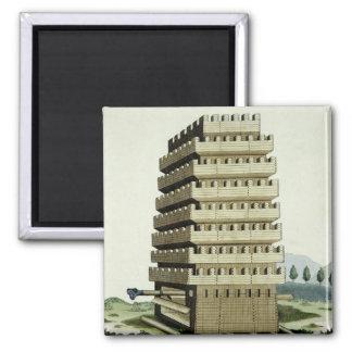 Torre movible con galerías externas y un additio imán cuadrado