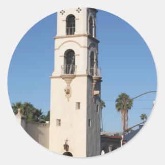 Torre Ojai de la oficina de correos Pegatina Redonda