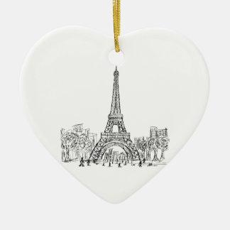 Torre París de Eifel Adorno Navideño De Cerámica En Forma De Corazón