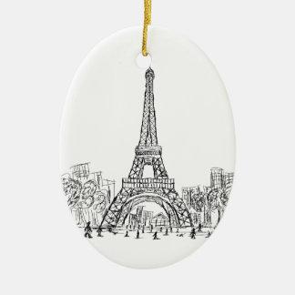 Torre París de Eifel Adorno Navideño Ovalado De Cerámica