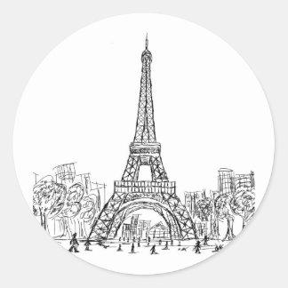 Torre París de Eifel Pegatina Redonda
