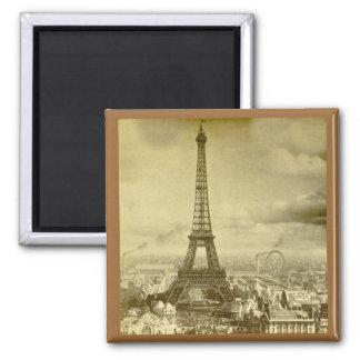 Torre París Francia 1889 de Eifel del vintage Imán Cuadrado