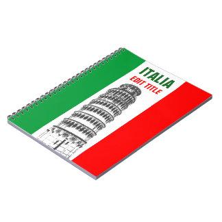 Torre personalizada de Pisa y de la bandera Spiral Notebook