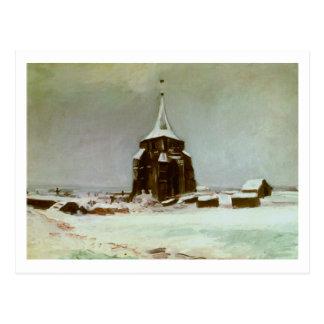 Torre vieja del cementerio en la nieve, bella arte postales