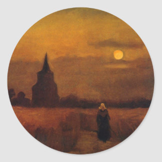 Torre vieja en los campos, arte de Van Gogh de la Pegatina Redonda