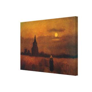 Torre vieja en los campos, bella arte de Van Gogh Impresión En Tela
