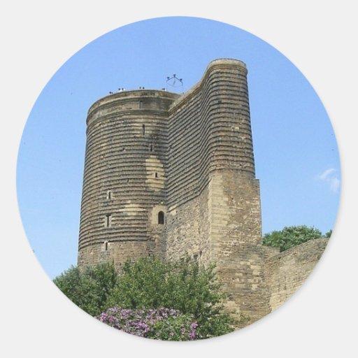 Torre virginal Baku Pegatina Redonda