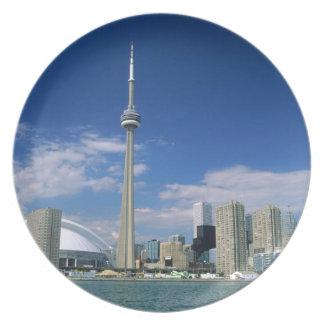 Torre y Skydome del NC en Toronto, Ontario, Plato Para Fiesta