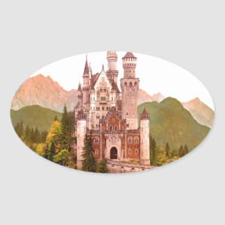 torrecilla de hadas del castillo del castillo del pegatina ovalada