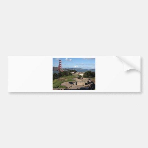 Torrecillas de arma de Presidio y puente Golden Ga Etiqueta De Parachoque