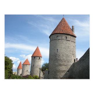 Torrecillas o torres medievales en Tallinn, Tarjeta Postal