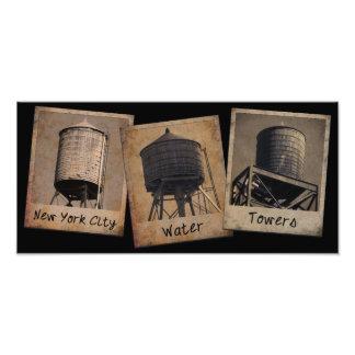 Torres de agua de New York City Arte Fotográfico