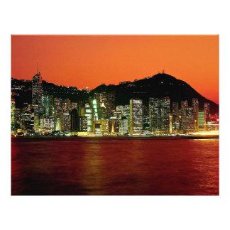 Torres de la isla central de Hong Kong en el franc Tarjetas Informativas