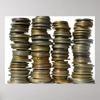 Torres de plata de la moneda de oro poster