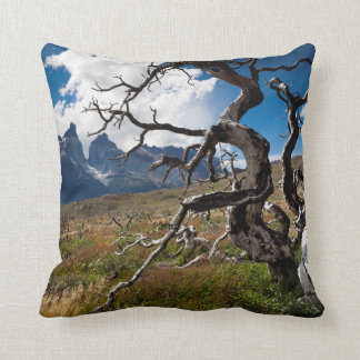 Torres del Paine National Park, fire damaged trees Throw Pillow