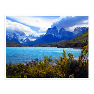 torres del paine view postcard