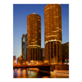 Torres del puerto deportivo de Chicago Poster