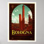 Torres del vintage de Italia de Bolonia Poster