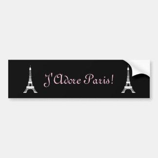 Torres Eiffel francesas blancos y negros elegantes Pegatina Para Auto