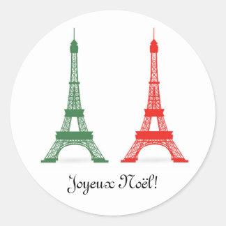 Torres Eiffel francesas del tema del navidad rojo Pegatina Redonda