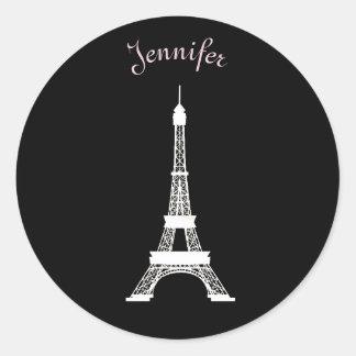 Torres Eiffel francesas negras, rosadas, blancas Pegatina Redonda