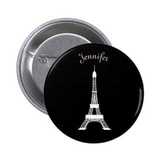 Torres Eiffel francesas negras, rosadas, blancas Pin Redondo De 2 Pulgadas