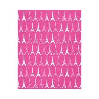 Torres Eiffel rosadas femeninas Lienzo Envuelto Para Galerias