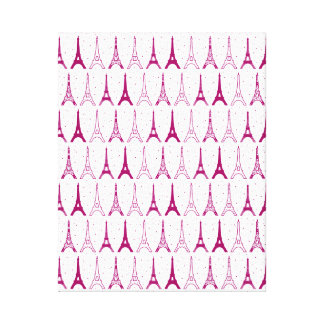 Torres Eiffel rosadas femeninas Lienzo Envuelto Para Galerías