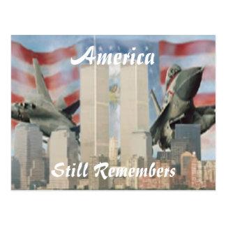 Torres gemelas 9/11 postal de la conmemoración