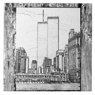 Torres gemelas azulejo cuadrado grande
