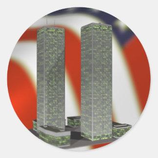 Torres gemelas etiquetas redondas