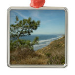 Torrey Pine and California Coastline Landscape Metal Ornament