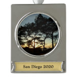 Torrey Pine Sunset II California Landscape Silver Plated Banner Ornament