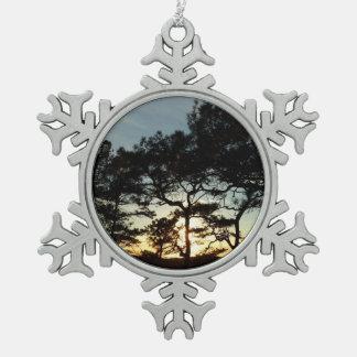 Torrey Pine Sunset II California Landscape Snowflake Pewter Christmas Ornament