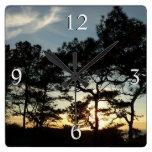 Torrey Pine Sunset II California Landscape Square Wall Clock