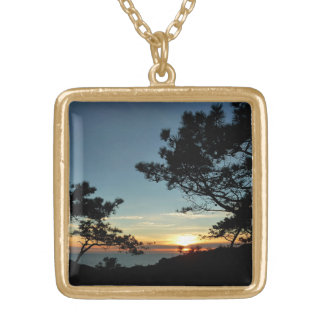 Torrey Pine Sunset III California Landscape Gold Plated Necklace