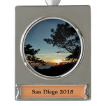 Torrey Pine Sunset III California Landscape Silver Plated Banner Ornament
