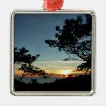 Torrey Pine Sunset III California Landscape Square Metal Christmas Ornament