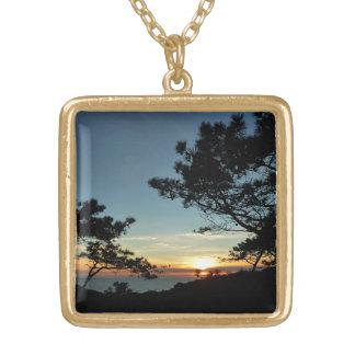 Torrey Pine Sunset III California Landscape Square Pendant Necklace