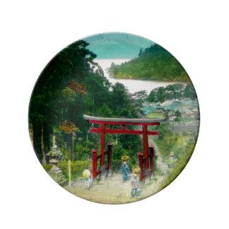 Torri Above Lake Ashi 芦ノ湖 Japan Vintage Dinner Plate
