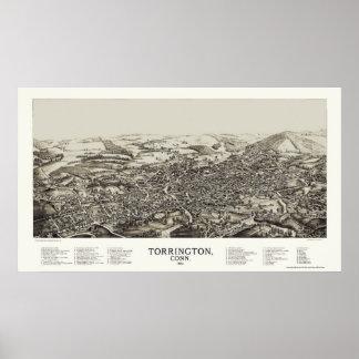 Torrington, mapa panorámico del CT - 1889 Póster