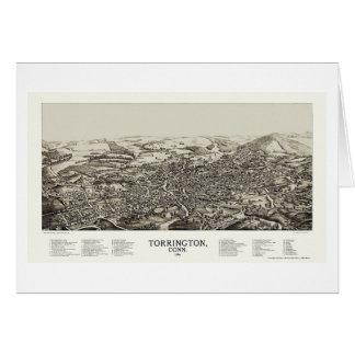 Torrington, mapa panorámico del CT - 1889 Tarjeta De Felicitación