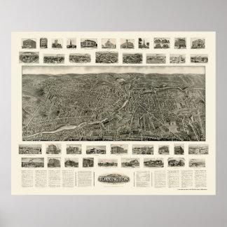 Torrington, mapa panorámico del CT - 1909 Póster