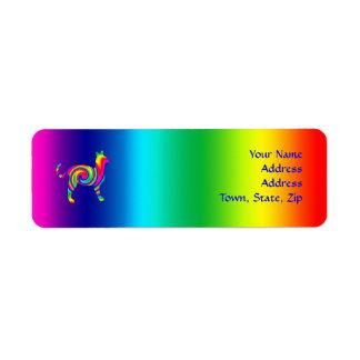 Torsión formada gato del arco iris etiqueta de remite
