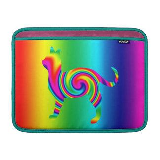 Torsión formada gato del arco iris fundas macbook air
